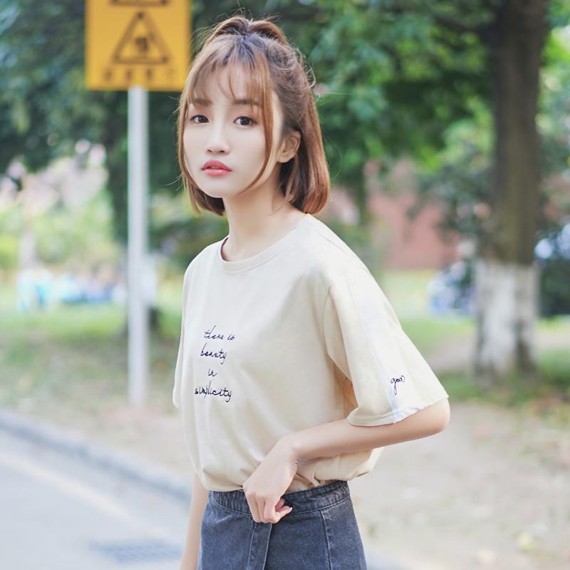 帛卡琪2018新款韩国ins宽松百搭短袖刺绣t恤女学生字母半袖上衣夏
