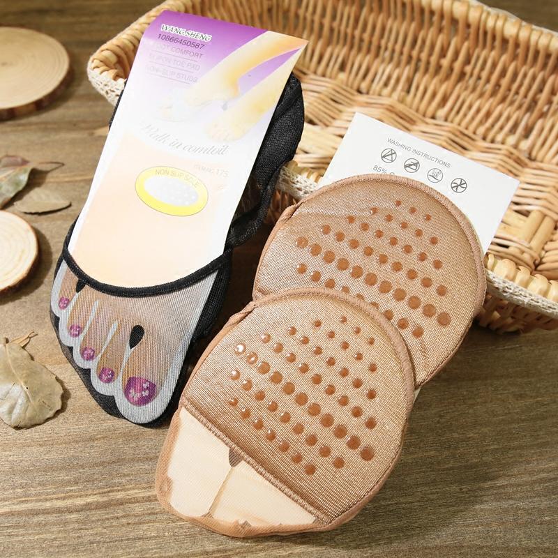 2双装 点胶防滑脚垫隐形时尚船袜性感海绵垫高跟鞋凉鞋专用女半脚