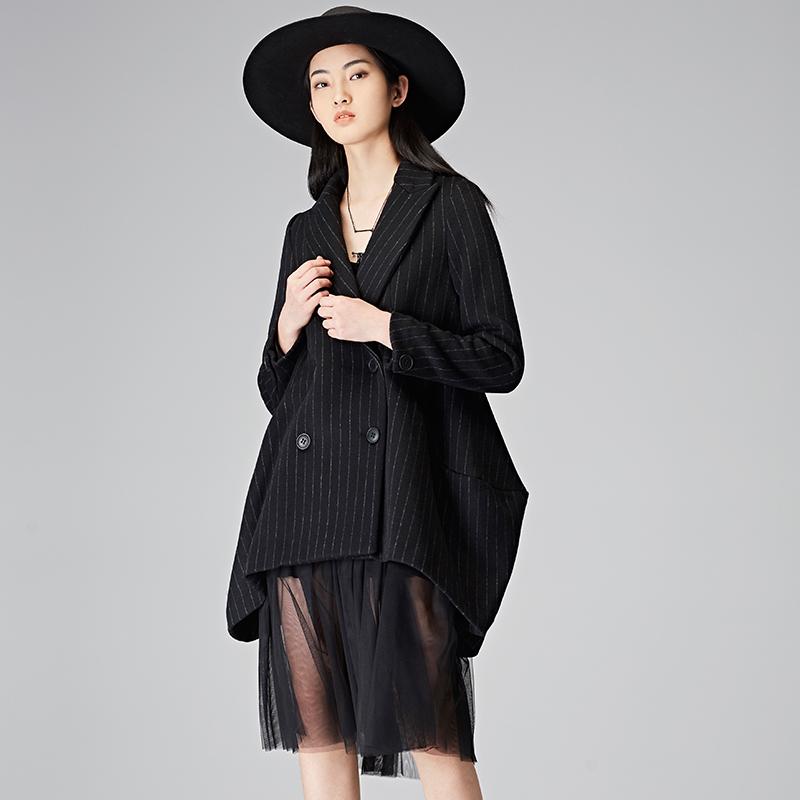 S17481873 冬英伦格纹裁剪拼接纱裙毛呢大衣两件套 2018 圣迪奥 sdeer