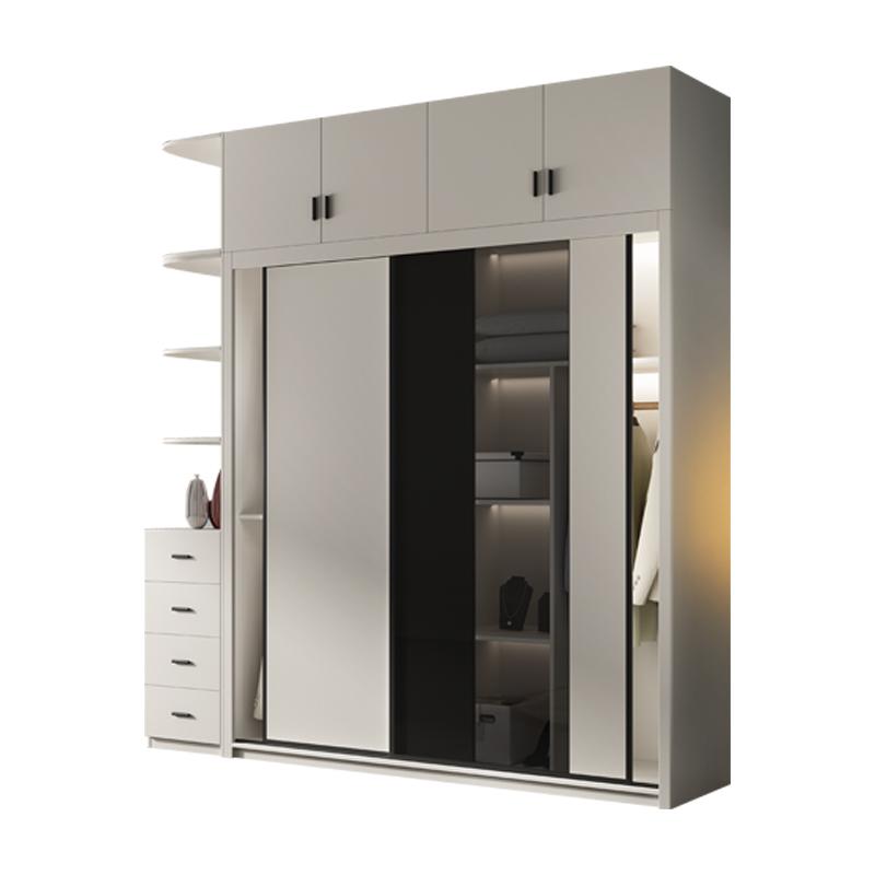 衣柜推拉门现代简约家用卧室柜子经济型出租房趟滑门实木质大衣橱