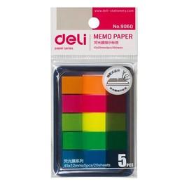 得力9060荧光膜 指示标签分类贴 便利贴 便签纸 索引贴(抽取盒)