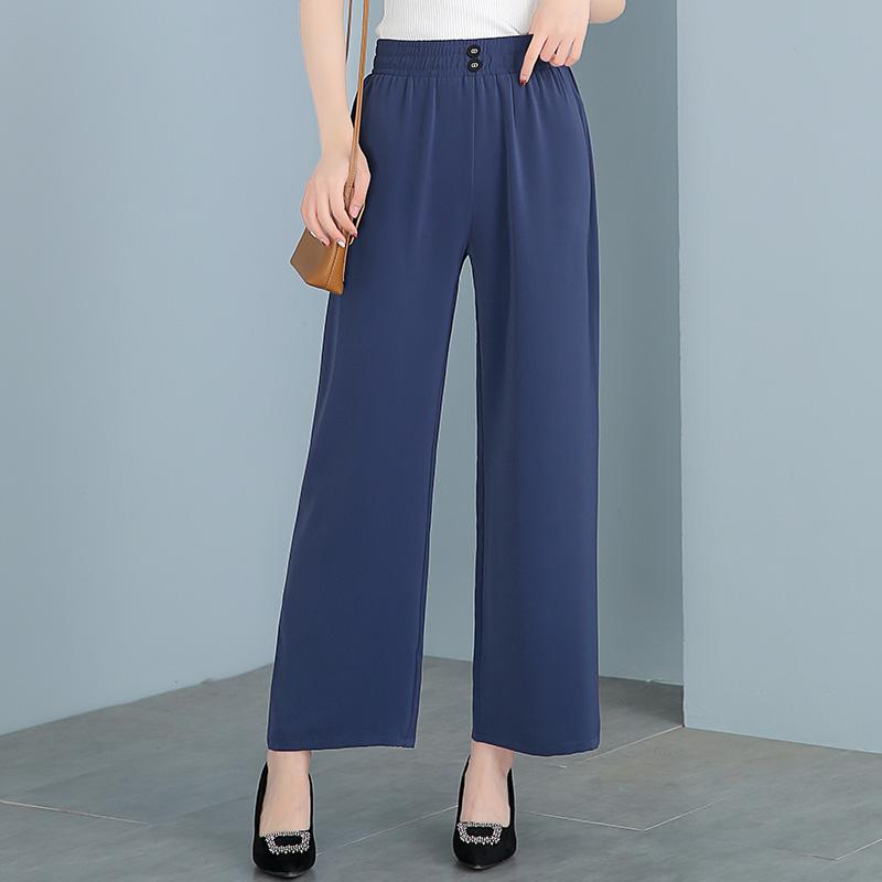 妈妈裤子夏季裙裤中年妇女阔腿裤薄款时尚新款垂感中老年女休闲裤