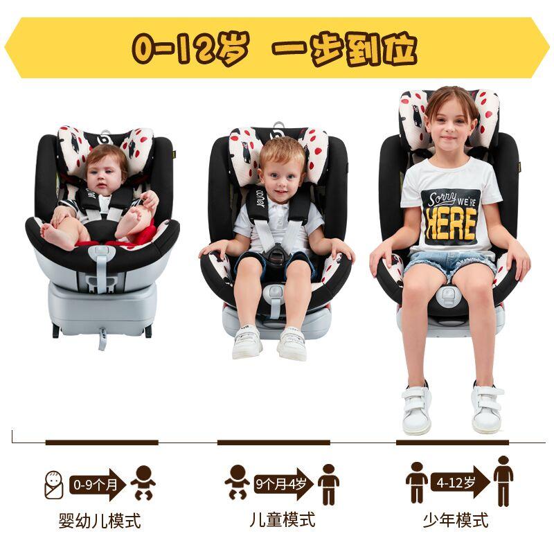德国abner阿布纳熊本熊安全座椅汽车用儿童婴儿0-4-12岁360度旋转