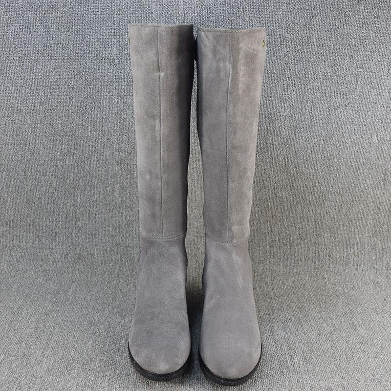 外贸大码真皮长筒靴女秋冬牛皮高筒棉靴防水台坡跟厚底显瘦马丁靴
