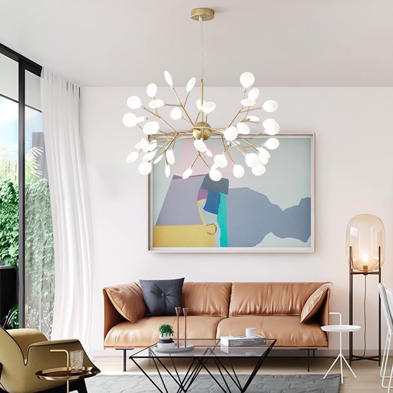 北欧吊灯后现代简约分子创意个姓温馨卧室灯客厅灯树枝萤火虫灯具