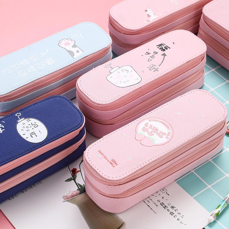 咔巴熊双层大容量笔袋日韩国创意简约帆布女生男生铅笔盒小学生可爱女孩小清新文具盒女
