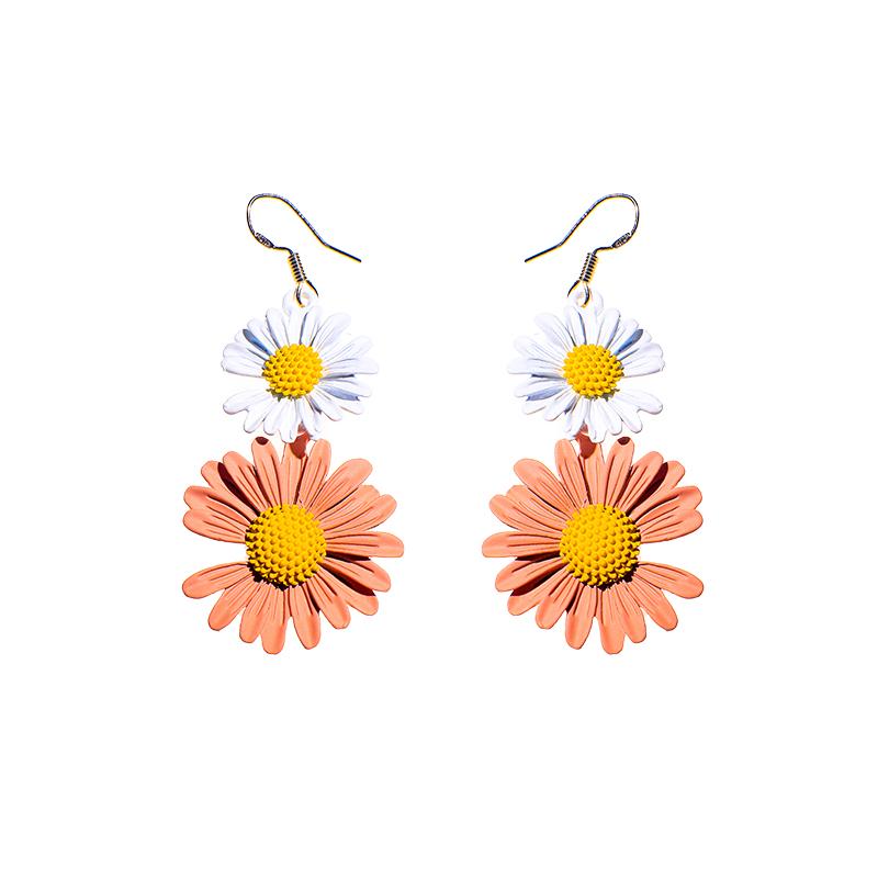 时尚气质菊花耳环甜美可爱小菊花太阳花耳饰向