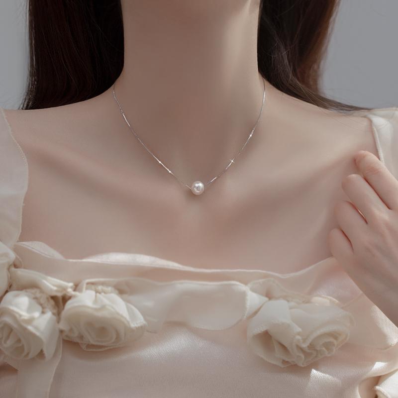 仿珍珠项链2021年新款女夏小众轻奢冷淡风颈链配饰高级锁骨链纯银