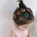 7 Pack Candy-colored Star Hairpin Child Cute Glitter Drop Oil bb Clip Card Child Child Sweet Color Hairpin