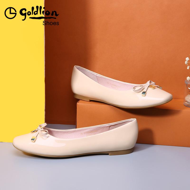 金利来女鞋2019秋季新款糖果色漆皮平底鞋浅口船鞋真皮平跟单鞋女