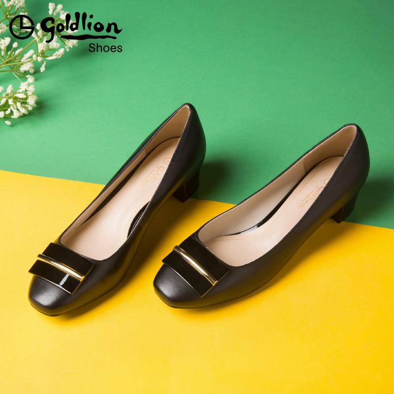 金利来女鞋通勤黑色工作鞋2019春夏新款方头中跟粗跟浅口真皮单鞋