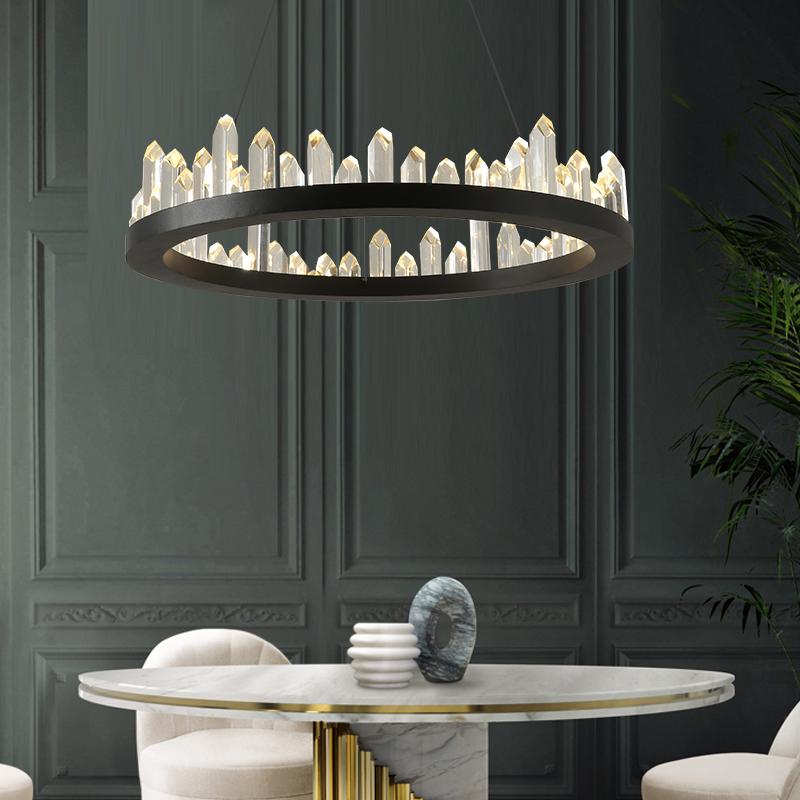9088 美灯荟北欧创意个姓冰山水晶铁艺客厅灯餐厅灯轻奢酒店工程灯