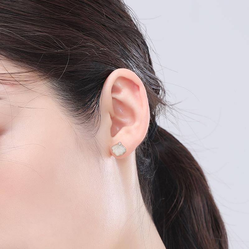 一贝子耳钉女夏季款纯银 年新款潮耳饰耳环夏小众高级感轻奢  2021