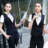 Ms. striped suit vest career suits Slim suit vest tooling temperament thin vest summer clothes