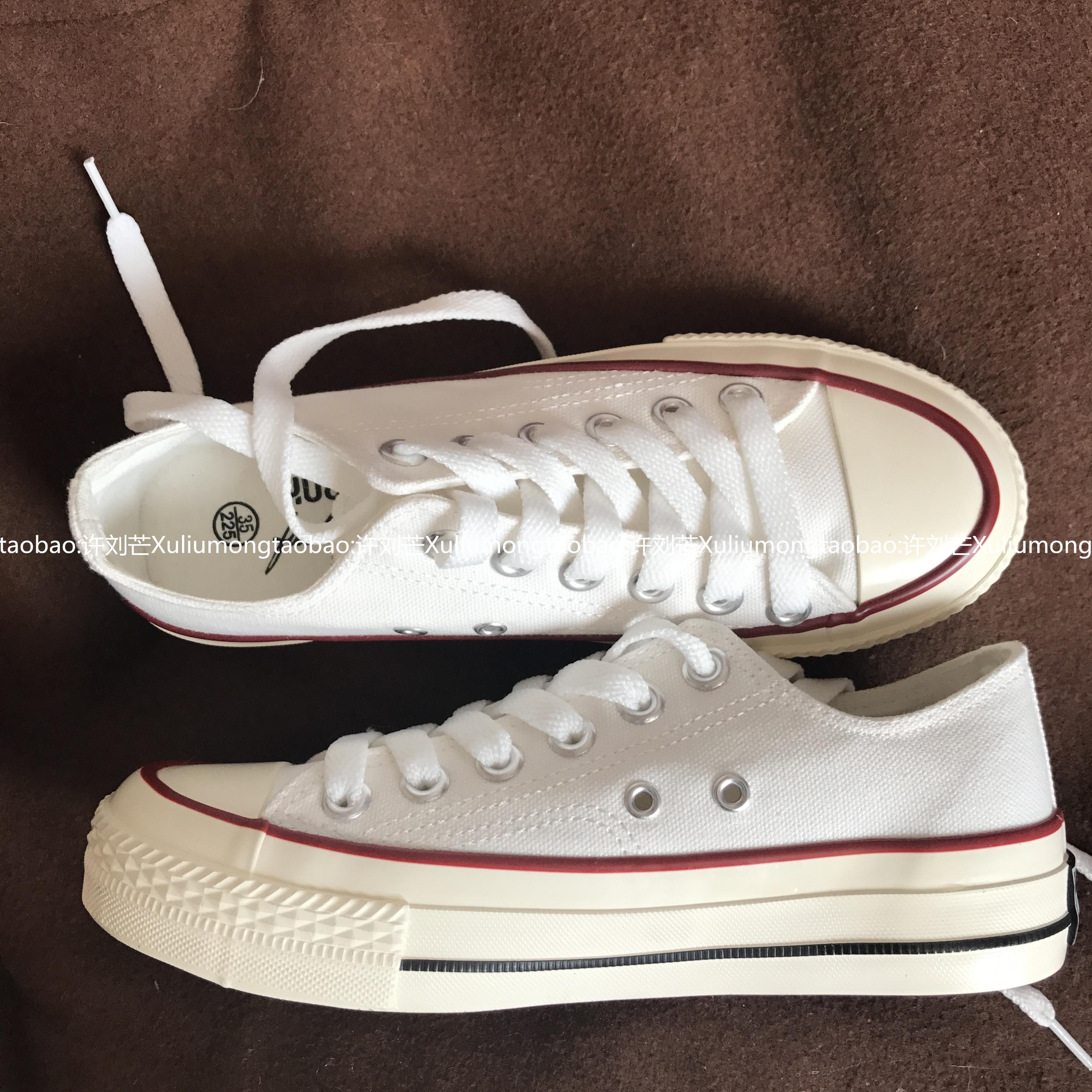 复刻白色低帮帆布鞋女 1970s 韩国街拍万年经典款百搭复古 许刘芒