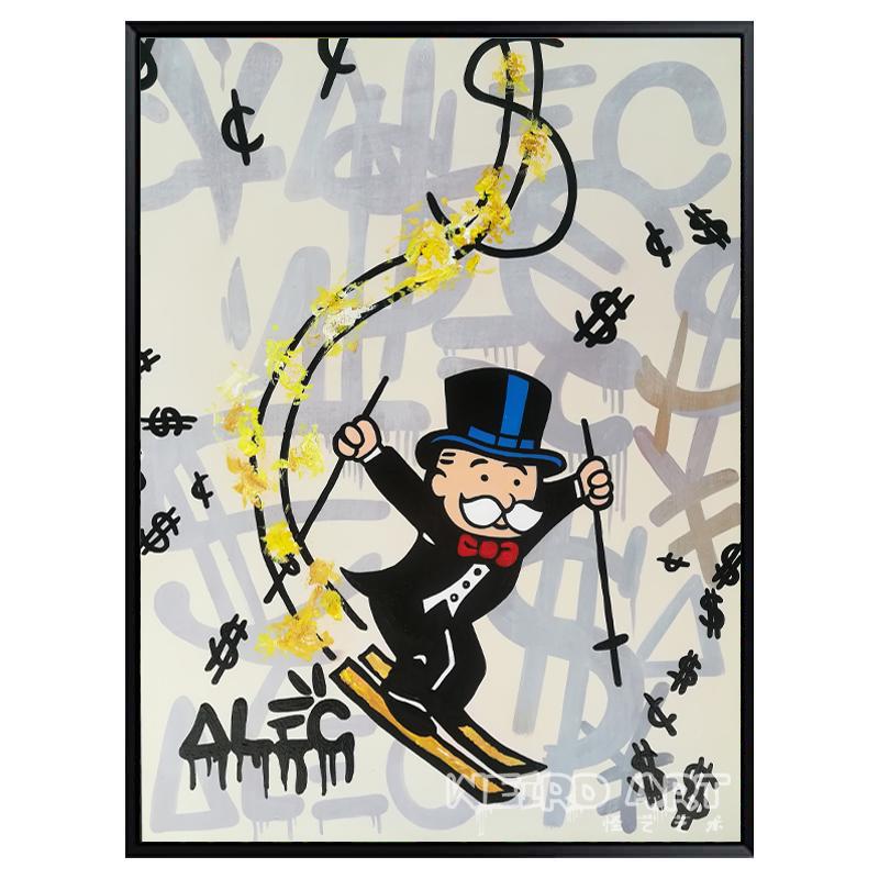 墙面装饰画现代简约挂画alec monopoly涂鸦作品波普手绘油画代画