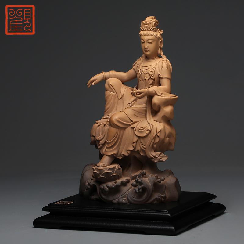 观复博物馆小水月观音铁丸石石塑摆件坐姿佛像可供养观世音菩萨