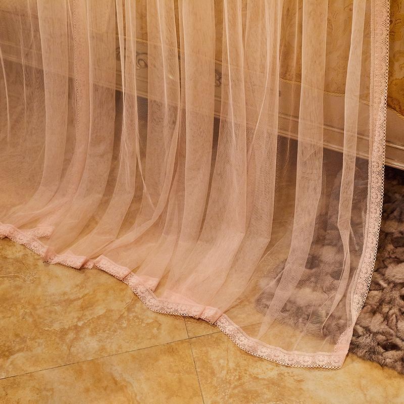 紫罗兰拉绳新款导轨蚊帐加密加厚u型轨道1.5米1.8m双人家用2米床