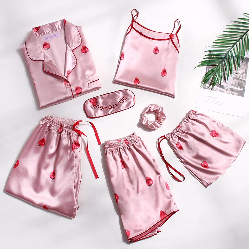 冰丝睡衣女夏季春秋带胸垫丝绸薄款七件套长袖家居服套装性感夏天