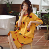 Pajamas female summer Korean students fresh short-sleeved cotton long paragraph knee dress loose big yards pregnant women Lingerie