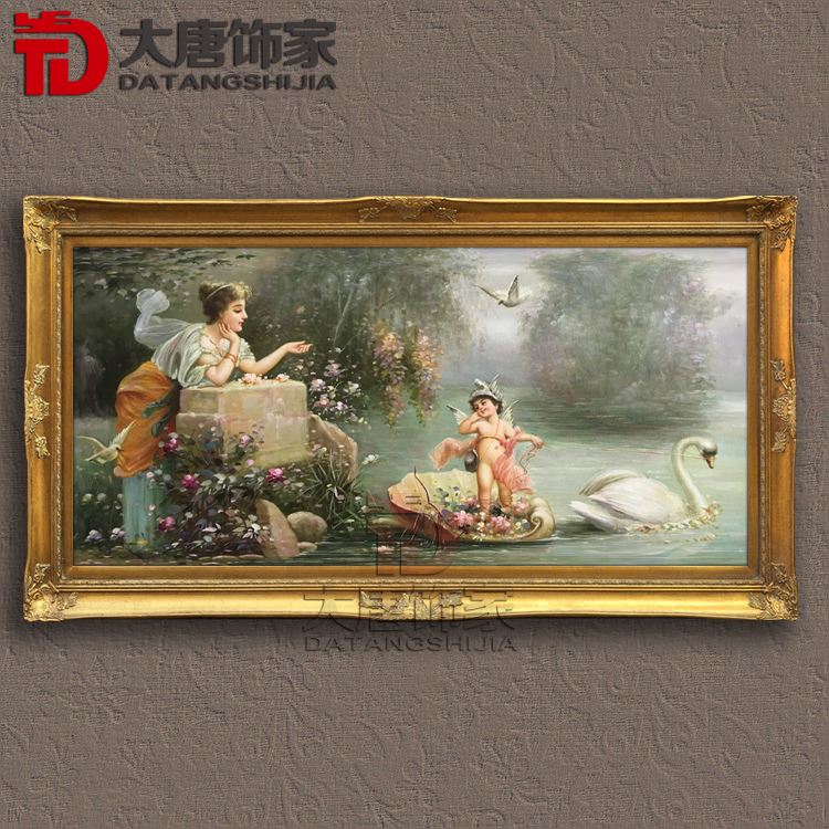 純手繪客廳玄關臥室油畫裝飾畫歐式古典天使油畫宮廷人物畫框RW14