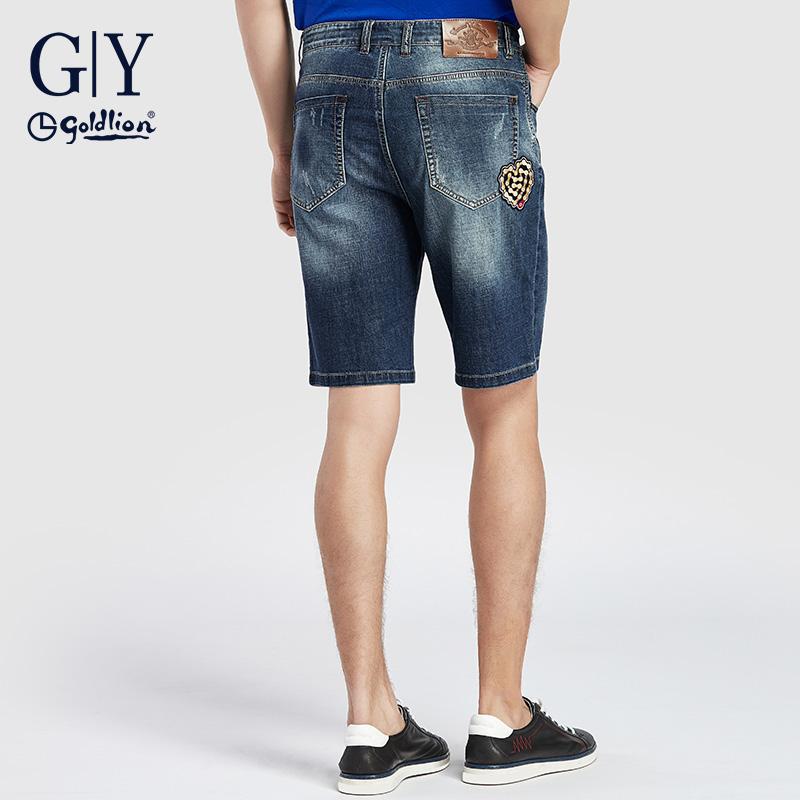 金利来GY牛仔裤时尚休闲2019夏季新款青年直筒简约牛仔短裤潮