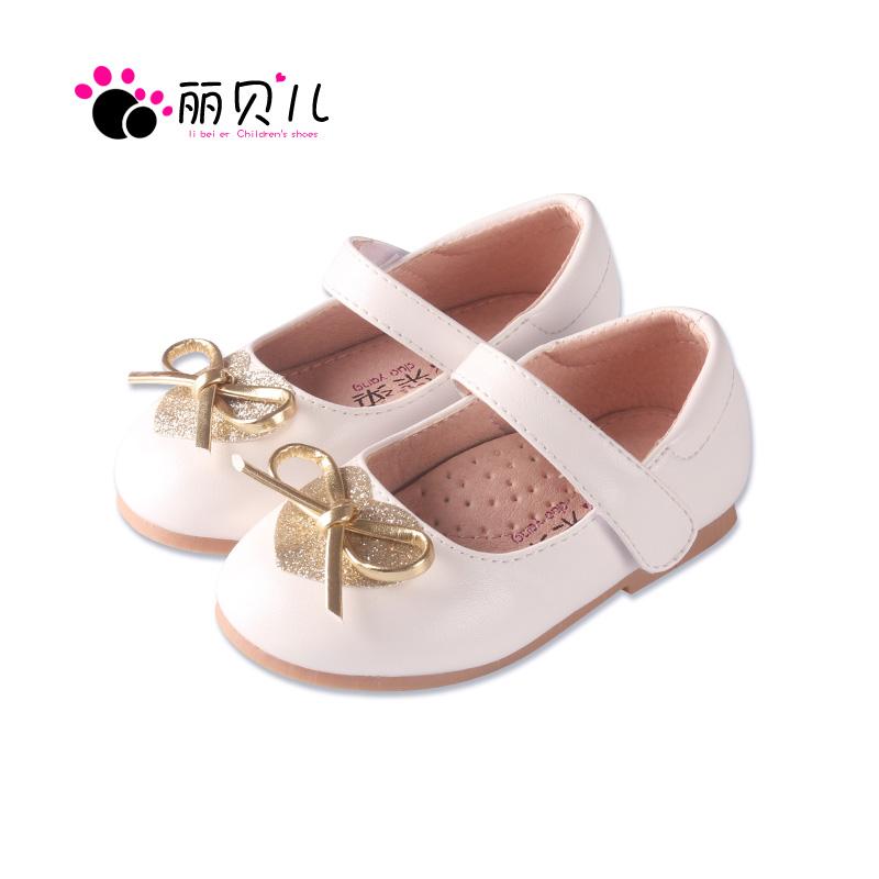 2017春秋女童鞋公主鞋女儿童韩版蝴蝶结黑色软底皮鞋新款女孩单鞋