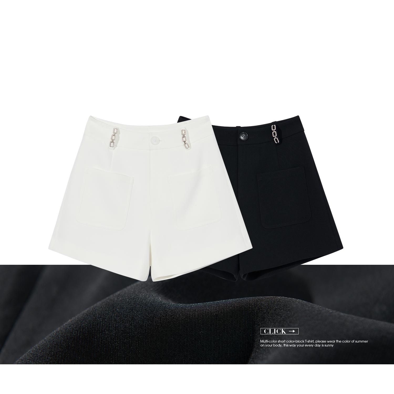 A  V213DKG073 合金链条短裤  链条装饰西装短裤 字版型