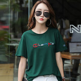 Body shirt Women's 2020 summer new short-sleeved embroidered ins super fire girl t-shirt Korean loose cotton summer was thin tide