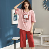 Pajamas women's cotton spring and summer short-sleeved shorts 2020 new girl Korean version can be worn outside home service suit female models