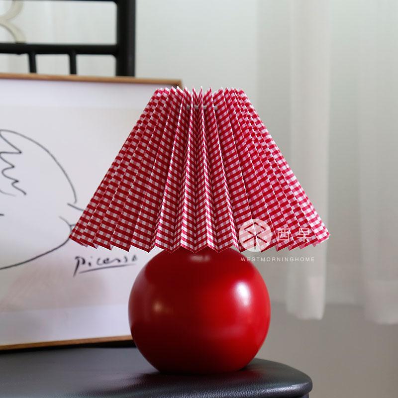 韩国多色床头书桌玄关灯 奶油色百褶台灯 ins 复古北欧 Vintage 西早