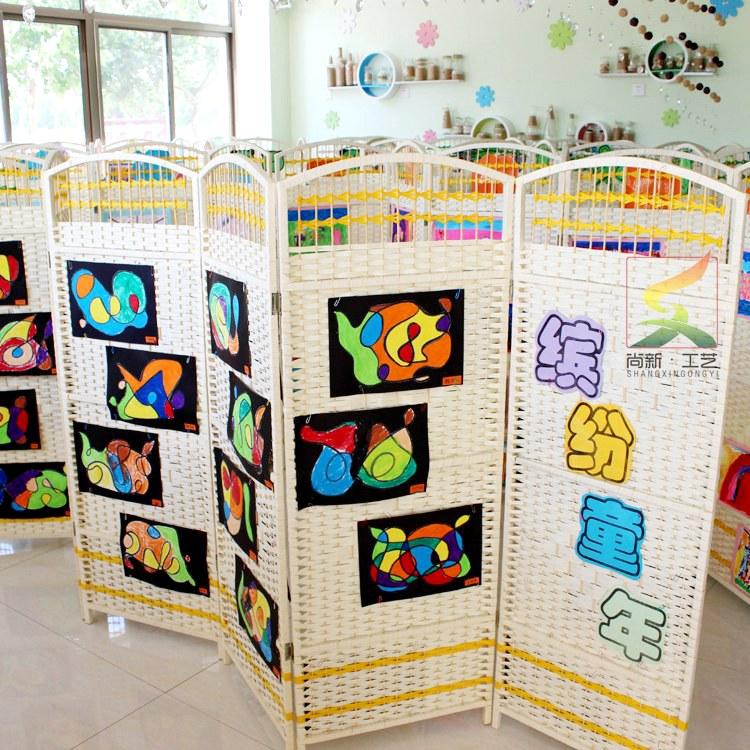 区域围栏藤编儿童隔断装饰栏隔墙折屏幼儿园专用小屏风 可定尺寸