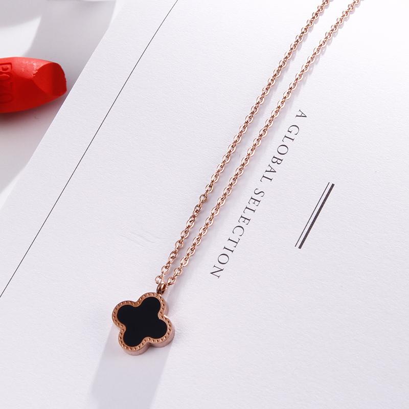 新款钛钢不掉色项链女韩国简约时尚个性潮人玫瑰金颈链太钢锁骨链