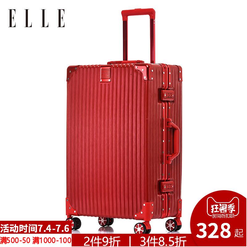 寸女行李箱 26 寸结婚耐磨登机密码旅行箱 24 铝框拉杆箱万向轮 ELLE