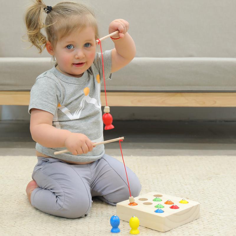 一岁半婴幼儿童宝宝木质磁性小孩钓鱼游戏益智力动手玩具1-2-3周
