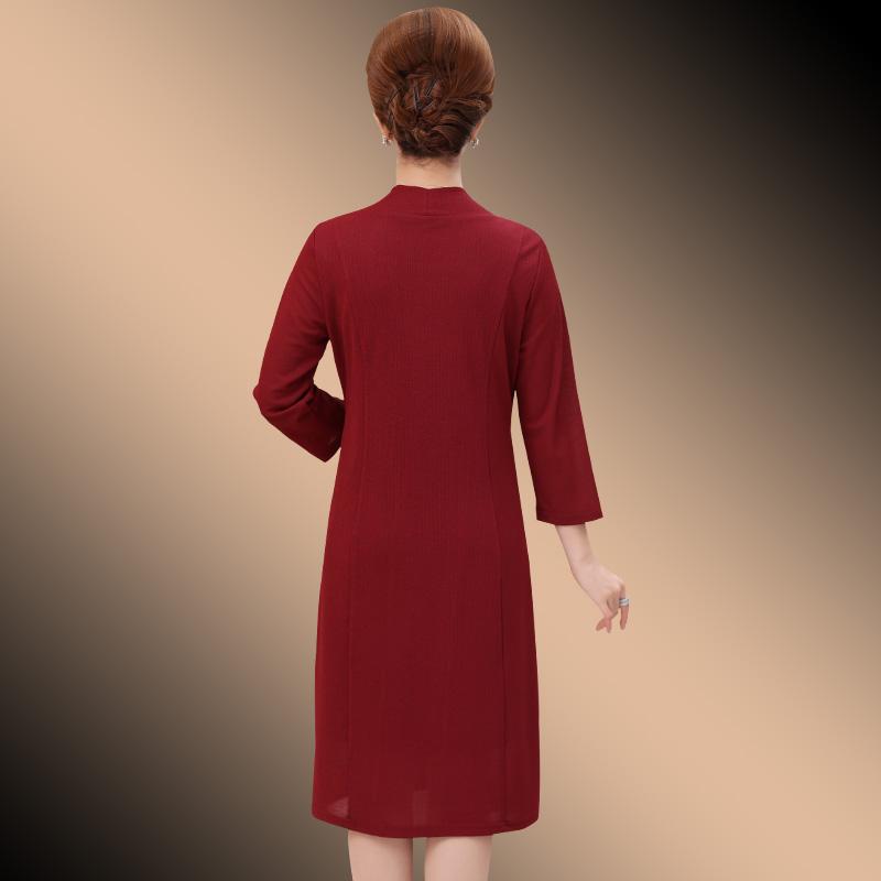 妈妈裙子2018新款女中老年时尚气质长袖连衣裙秋装中年人过膝春秋