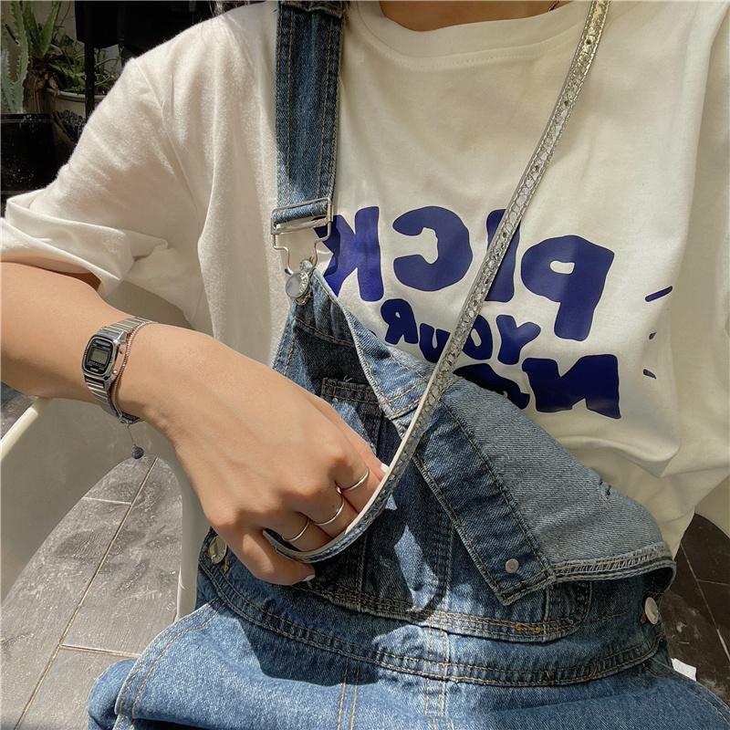 原创~2021新款夏装韩版字母宽松慵懒风盐系少女纯棉短袖T恤女上衣 No.2