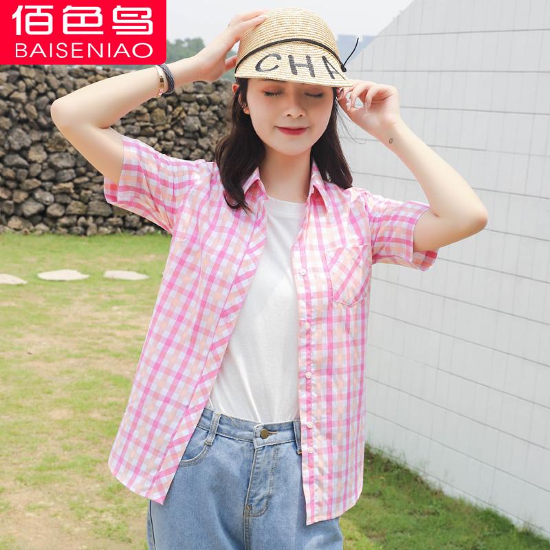 纯棉格子衬衫女短袖夏季新款小清新休闲薄衬衣学院风学生上衣主图