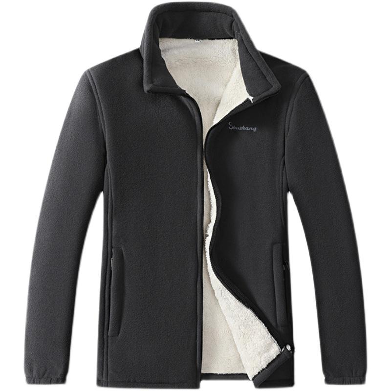 男士潮流中年秋冬季加绒加厚抓绒外套摇粒绒开衫外穿衣服休闲男