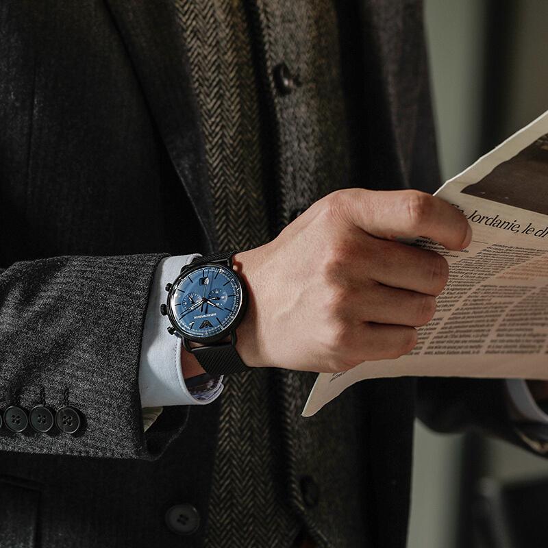 Armani阿玛尼款男士腕表 欧美黑色钢带石英表盘手表男AR11201正品
