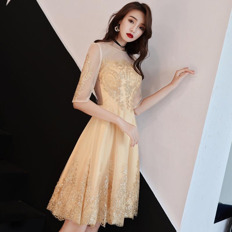 晚礼服女2019新款夏宴会时尚短款小礼服连衣裙伴娘服学生艺考派对