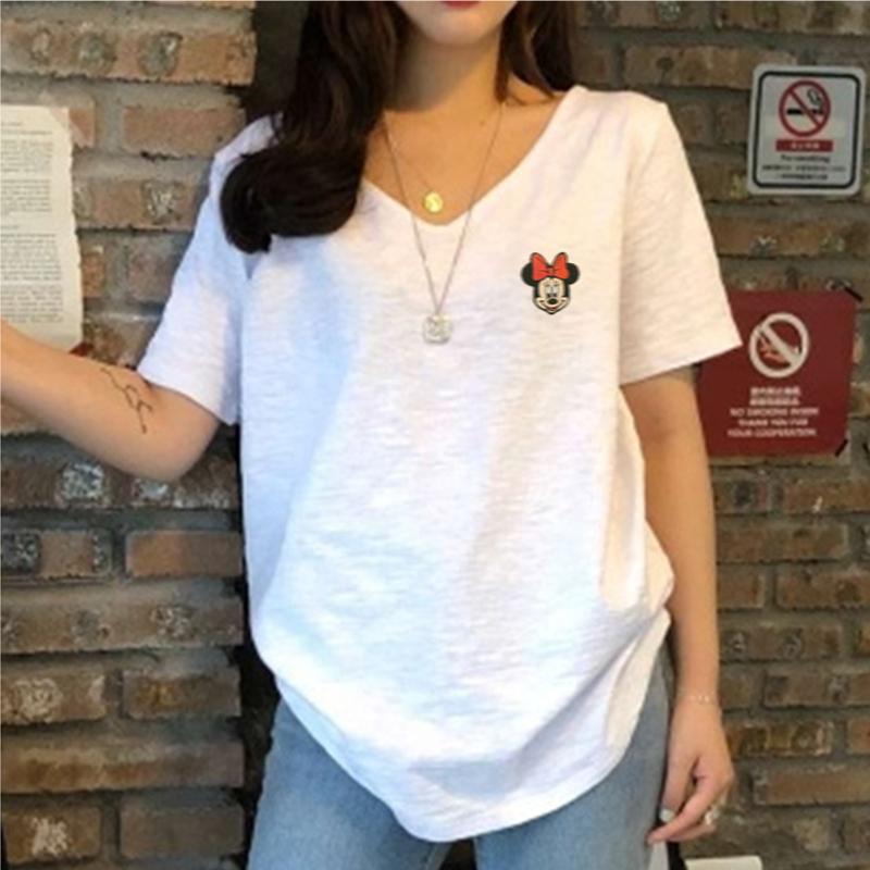 2021夏装新款米奇短袖T恤女韩版大码V领竹节棉宽松显瘦打底衫上衣主图
