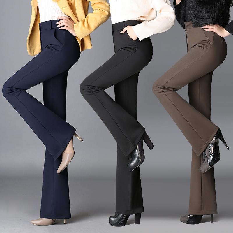 2019春装秋装微喇裤长裤大码喇叭裤加绒西裤女裤直筒高腰工作裤女