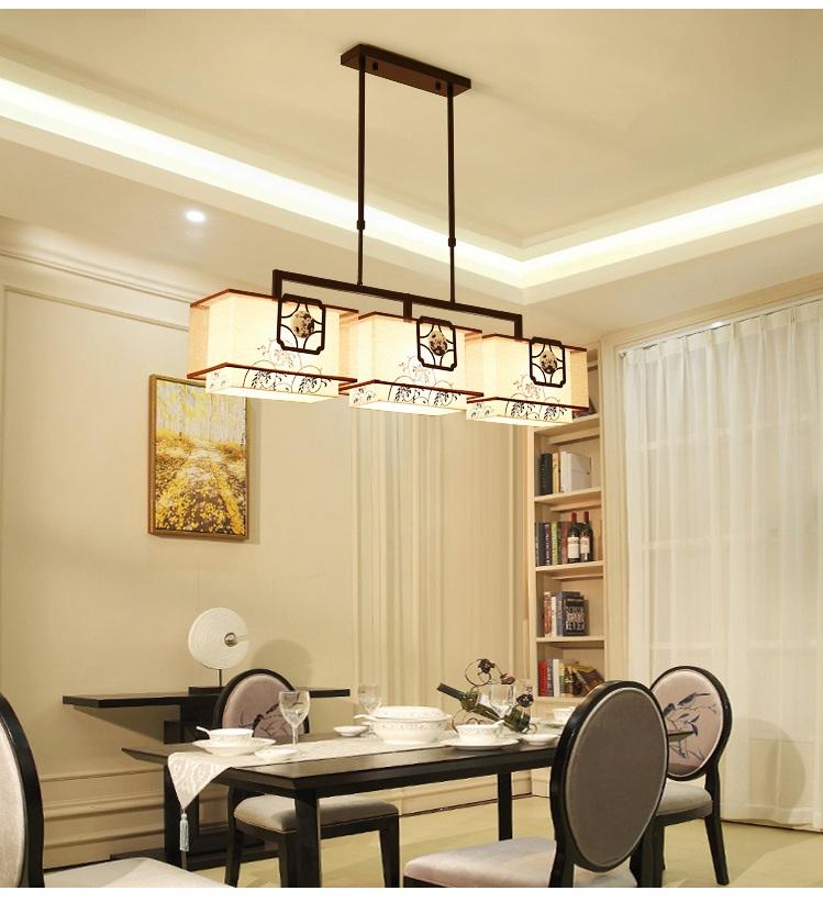 现代简约 led 头餐厅吊灯具书房吧台仿古典中国风布艺 3 新中式餐吊灯