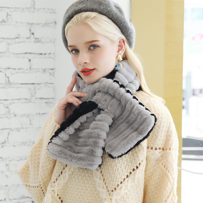 仿獭兔毛真毛茸茸百搭毛毛领子通用围脖女交叉冬季小围巾网红款短