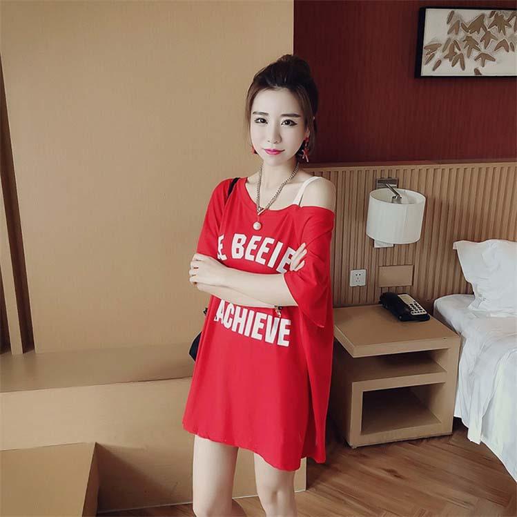 2019夏季韩版潮短袖连衣裙子宽松显瘦中长款吊带一字领露肩T恤女