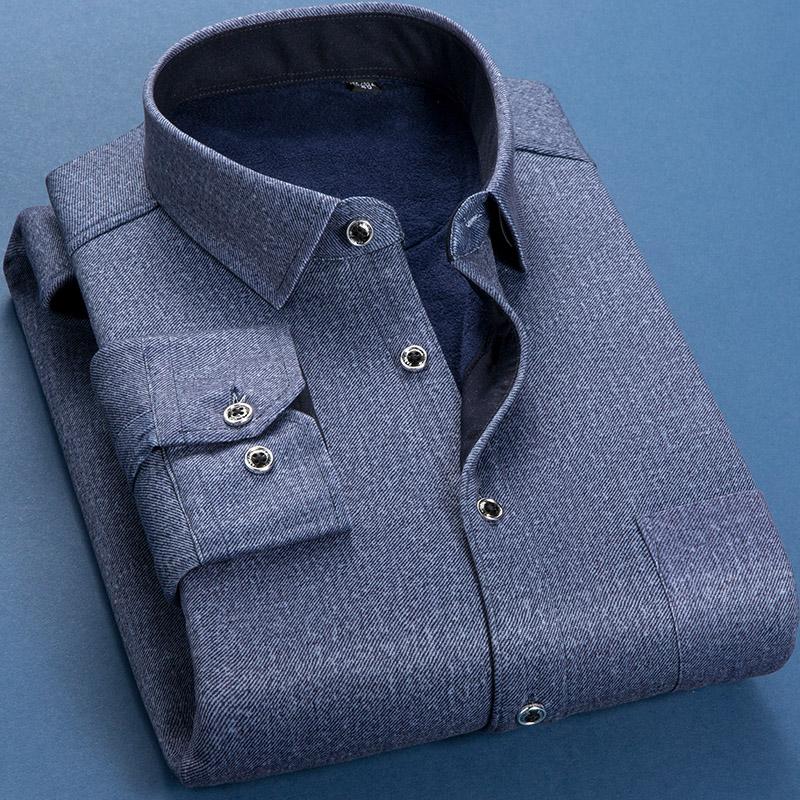 秋冬季加厚加绒保暖衬衫男士纯色衬衫男长袖修身韩版衬衣男衫寸潮