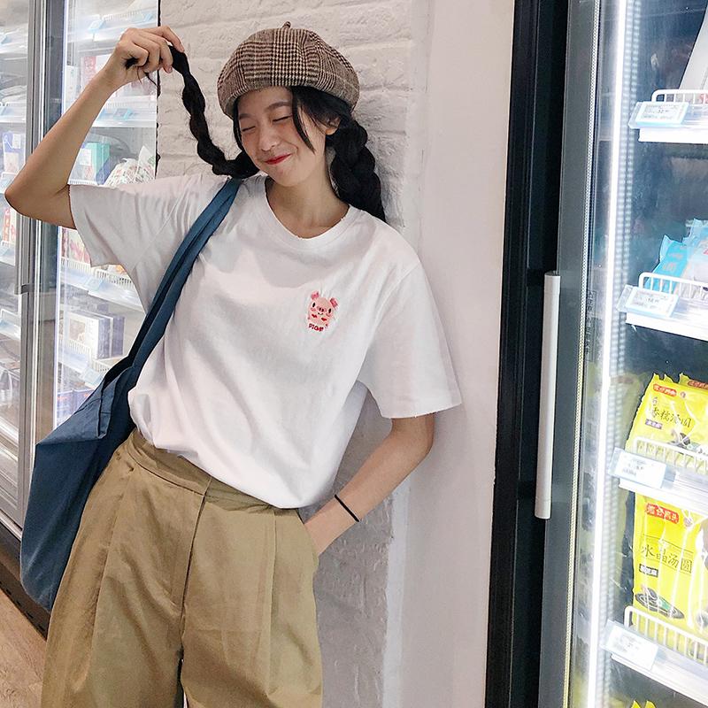 白色短袖t恤女夏装2019新款韩版宽松学生百搭刺绣小猪半袖ins上衣