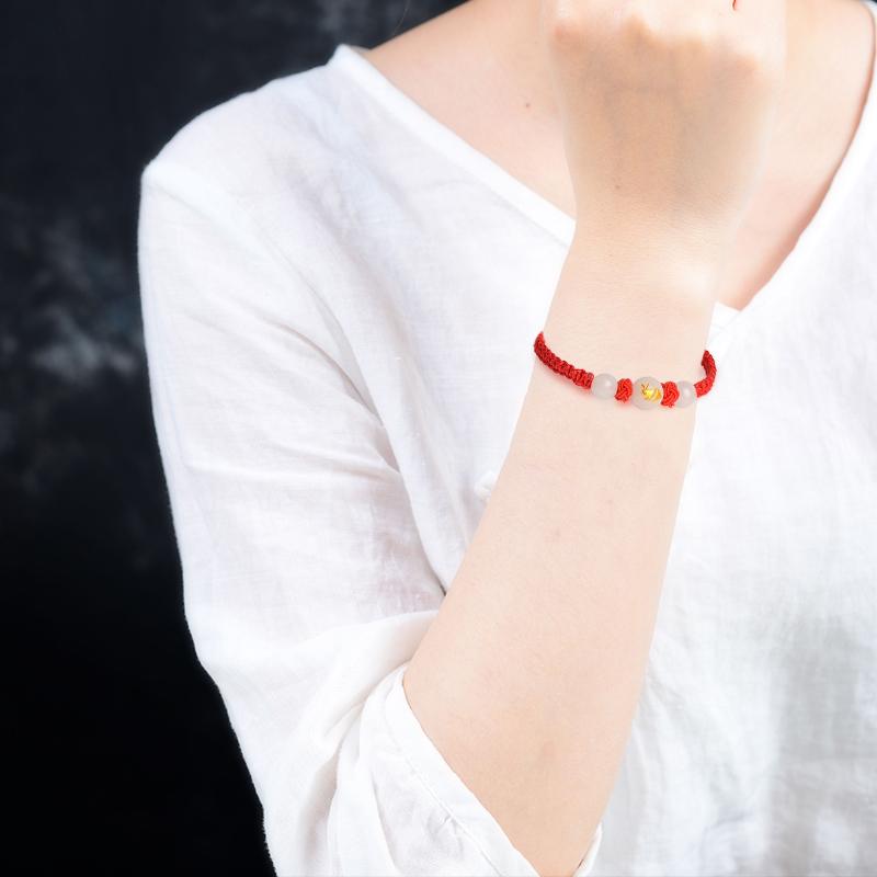 十二生肖夜光石手工编织红绳手链情侣款夜光手链饰品礼物送男友