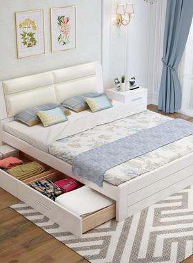 实木床双人床1.8米主卧现代简约白色欧式软包床经济型1.5米单人床